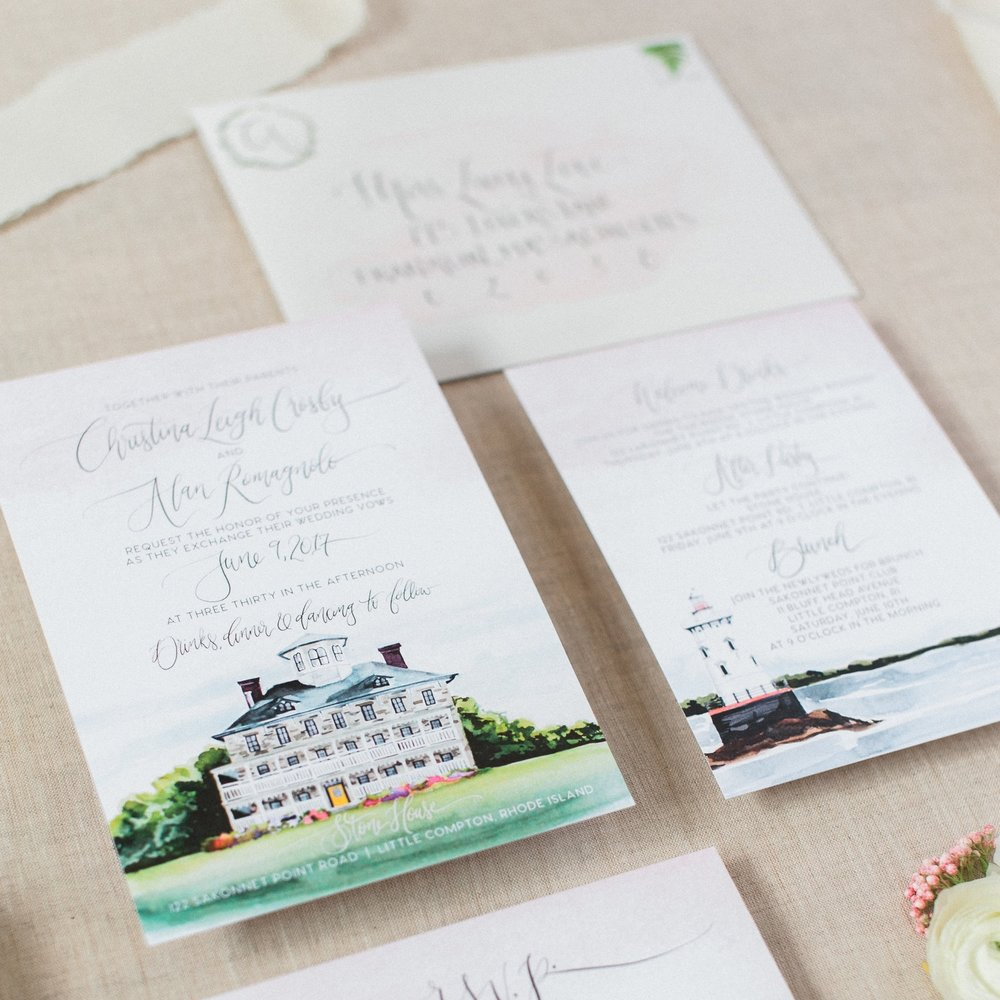 WATERCOLOR Rhode Island WEDDING VENUE WATERCOLOR INVITATIONS