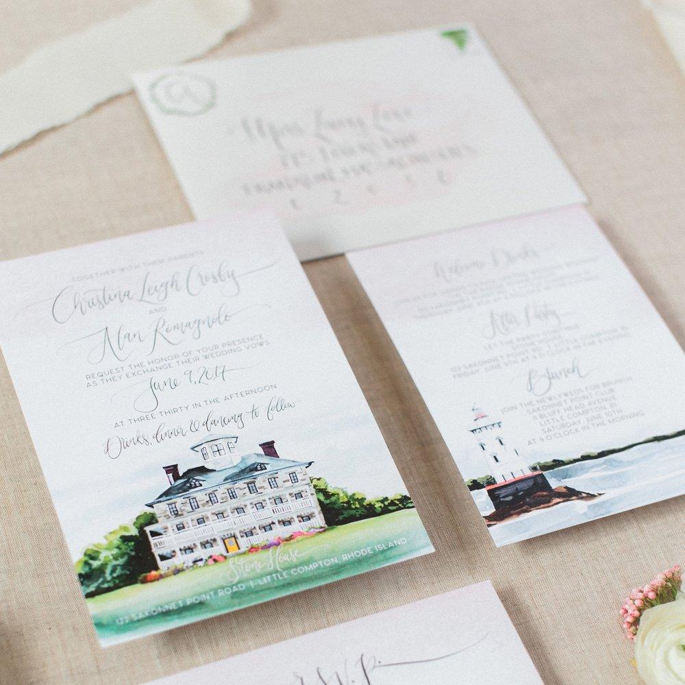 WATERCOLOR Rhode Island WEDDING VENUE WATERCOLOR INVITATIONS