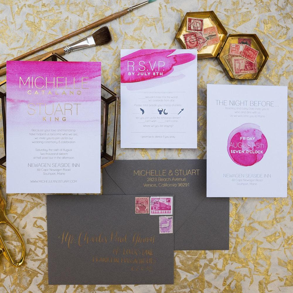 FUSCHIA WATERCOLOR & GOLD FOIL WEDDING INVITATIONS