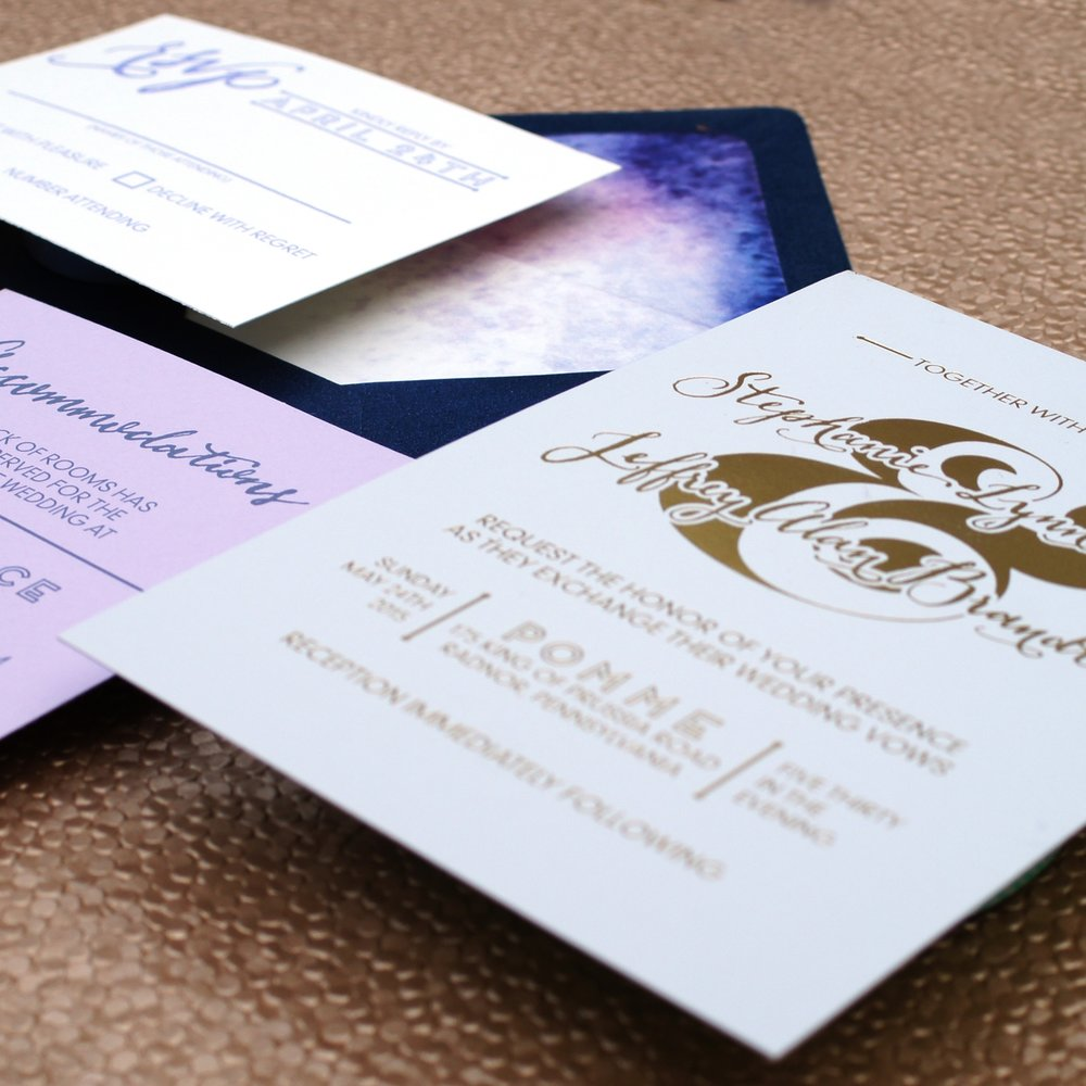 & LOVE GOLD FOIL MODERN WEDDING INVITATIONS