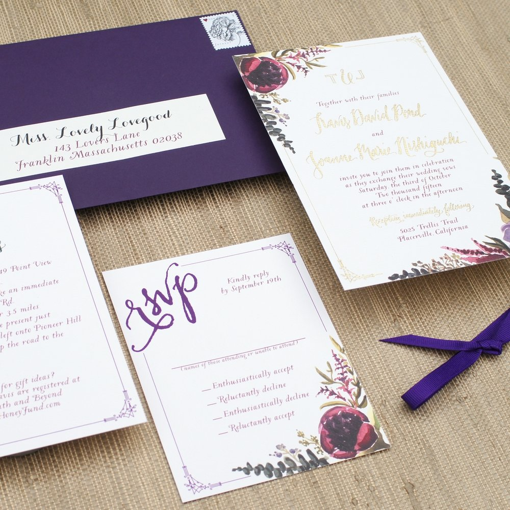 ROMANTIC RED AND PURPLE FLORAL WATERCOLOR INVITATIONS