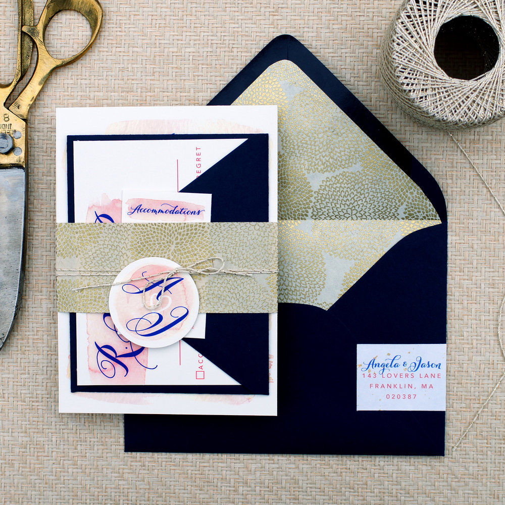 BLUSH AND GOLD FOIL WATERCOLOR WEDDING INVITATIONS