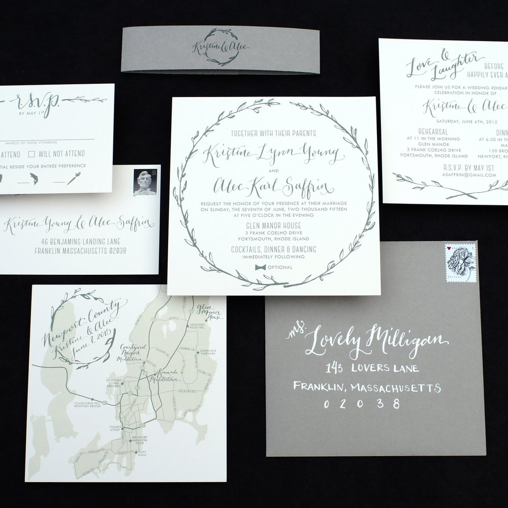 LAUREL WREATH + MAP WATERCOLOR WEDDING INVITATIONS