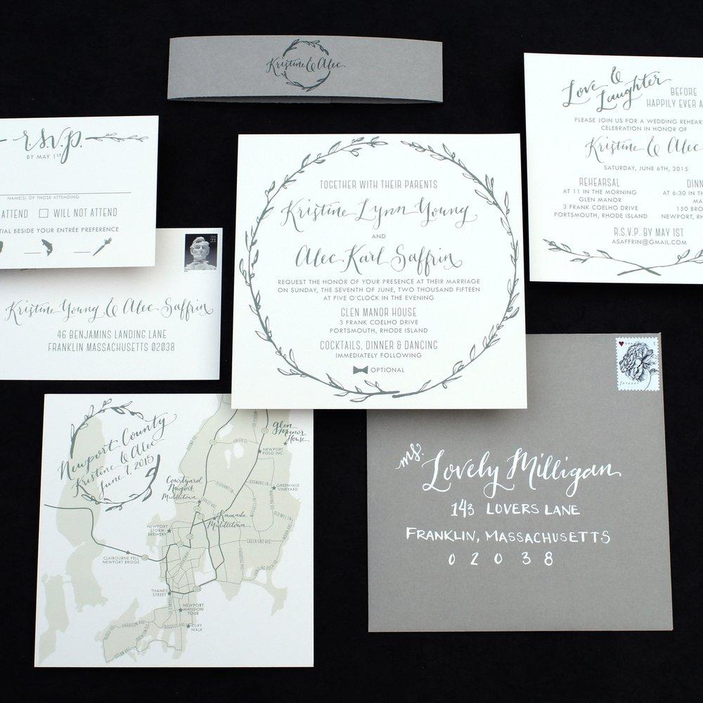 LAUREL WREATH + MAP WATERCOLOR WEDDING INVITATIONS