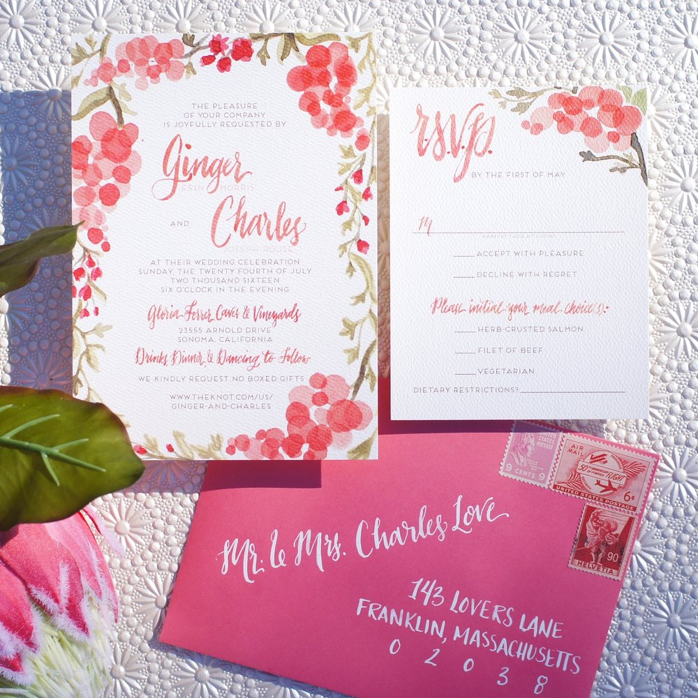 COLORFUL CORAL AND PINK WINERY WATERCOLOR INVITATIONS