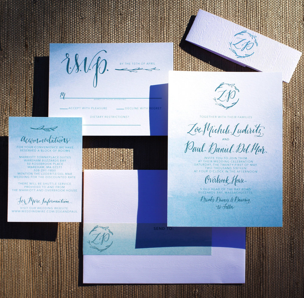 TEAL WATERCOLOR WASH OMBRE SIMPLE WEDDING INVITATIONS