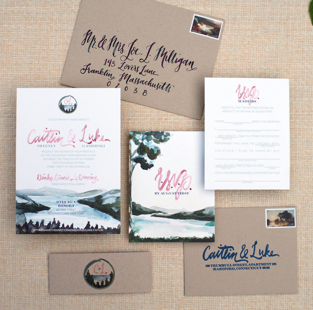 MOUNTAIN RUSTIC LAKE WATERCOLOR INVITATIONS