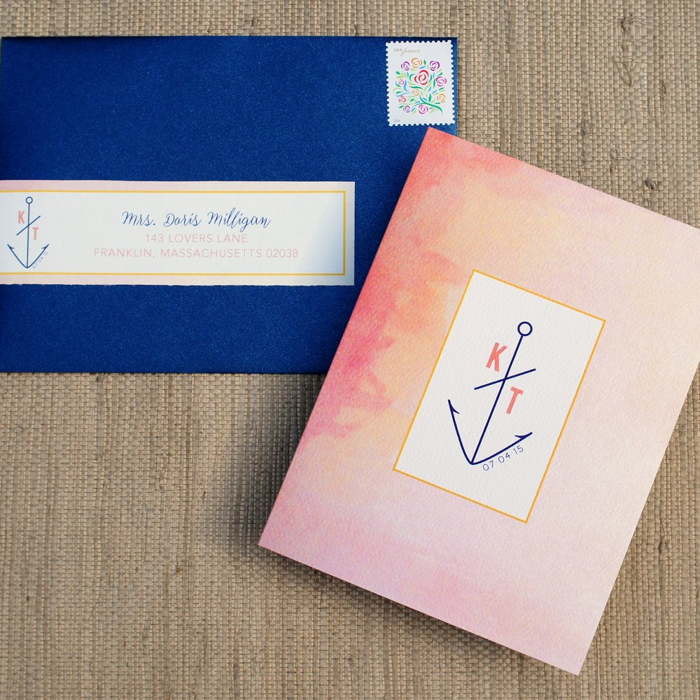 PINK WATERCOLOR NAUTICAL TEAR-OFF INVITATIONS