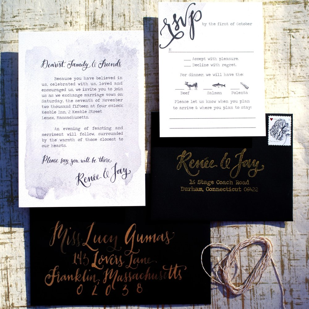 GREY WATERCOLOR LETTER STYLE WEDDING INVITATIONS