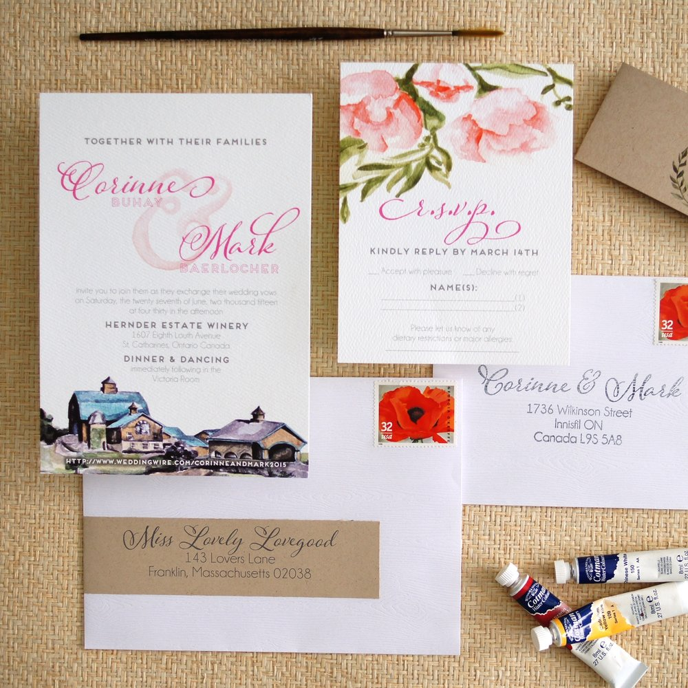 WATERCOLOR VENUE HERNDER ESATE WINERY + FLORALS WEDDING INVITATIONS