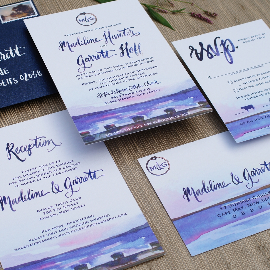 AT THE SHORE BEACHY NAUTICAL WATERCOLOR INVITATIONS