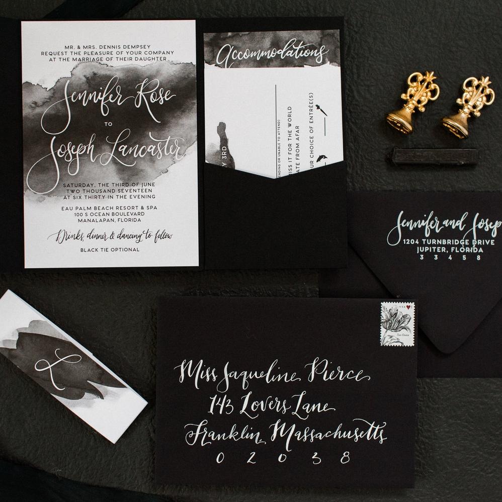 BLACK & WHITE INK WATERCOLOR WEDDING INVITATIONS