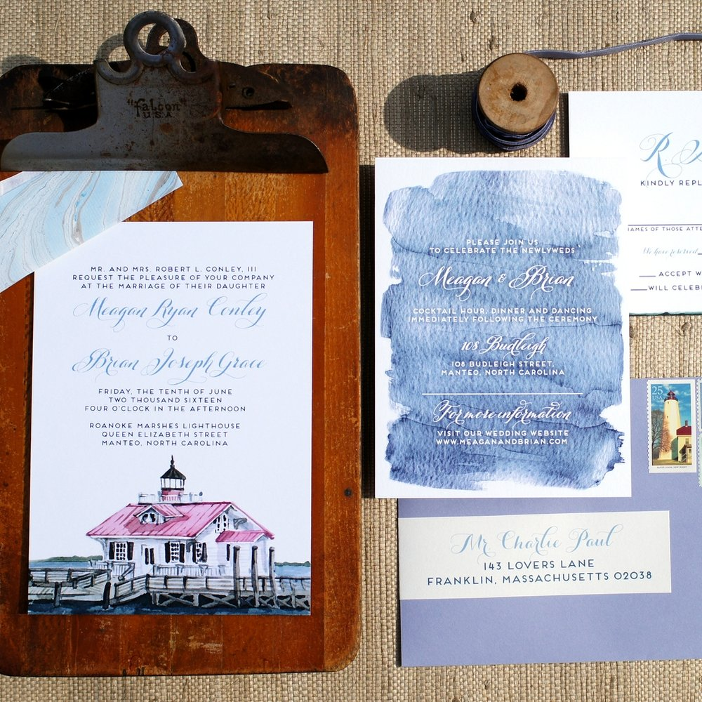 ROANOKE WATERCOLOR LIGHTHOUSE NORTH CAROLINA INVITATIONS