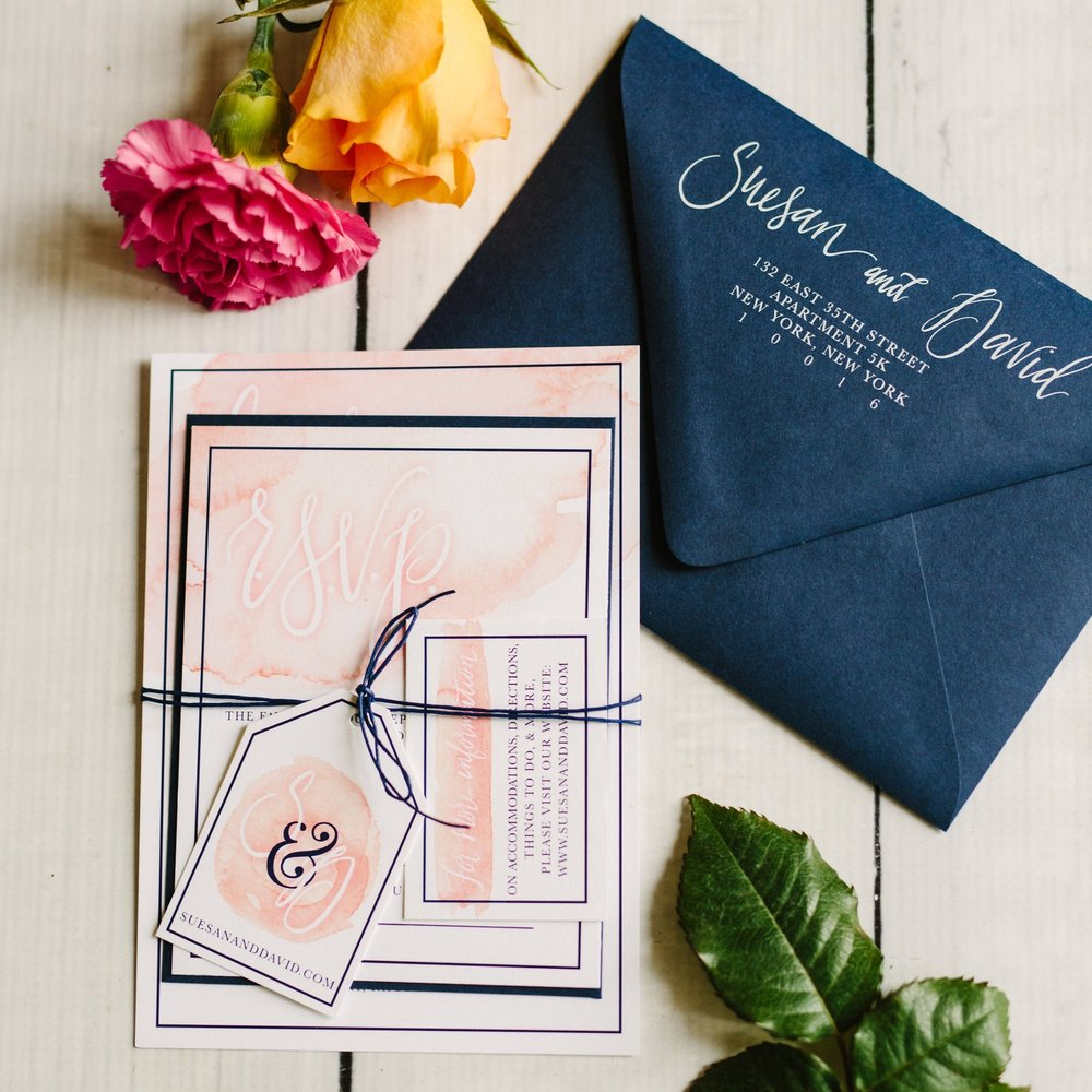 BLUSH & NAVY WATERCOLOR WASH WEDDING INVITATIONS