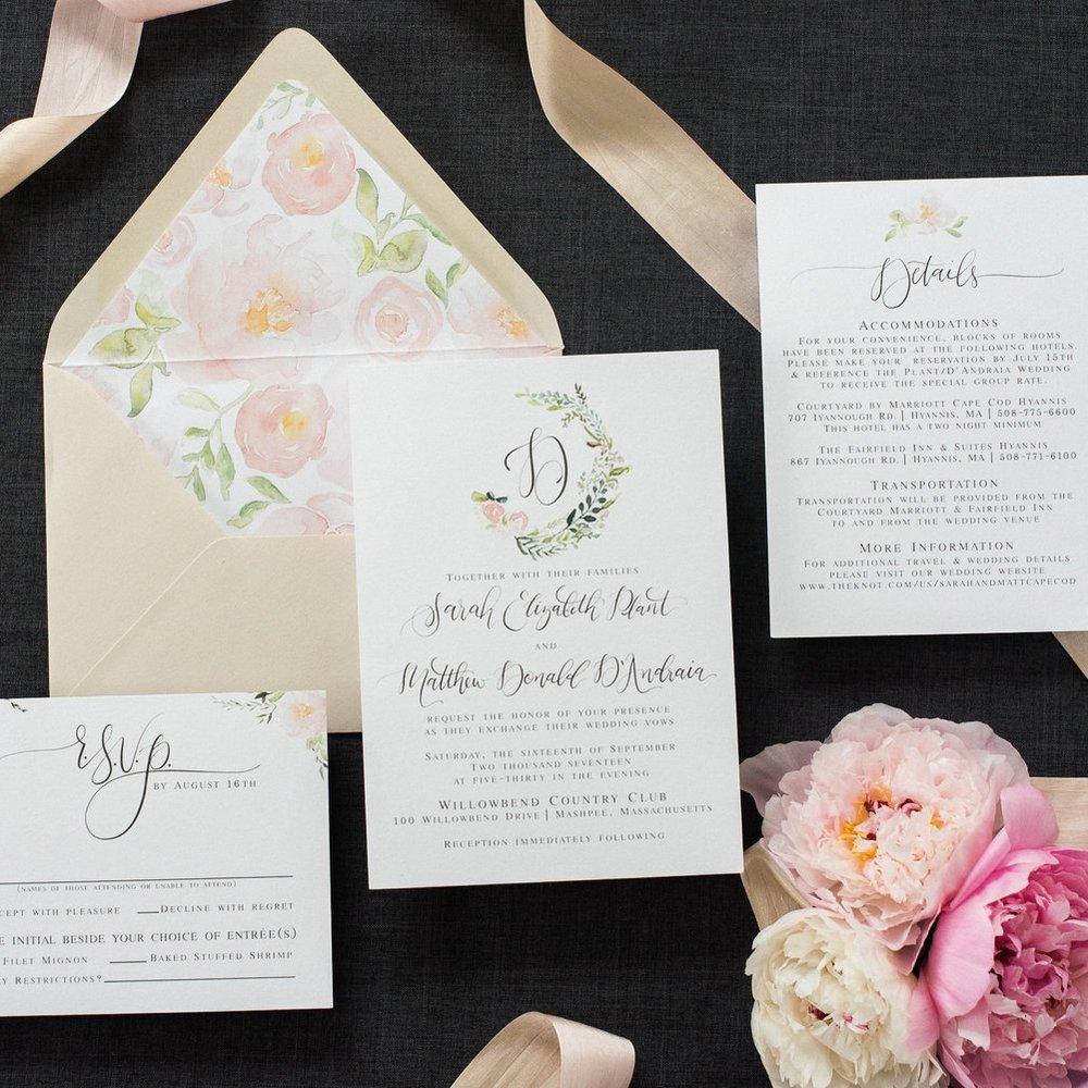 WATERCOLOR BLUSH FLORAL WEDDING LOGO WEDDING INVITATIONS