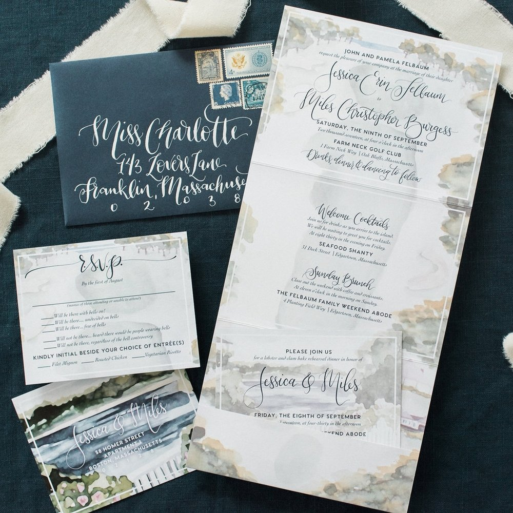 CAPE COD FOLDED COASTAL WEDDING INVITATIONS