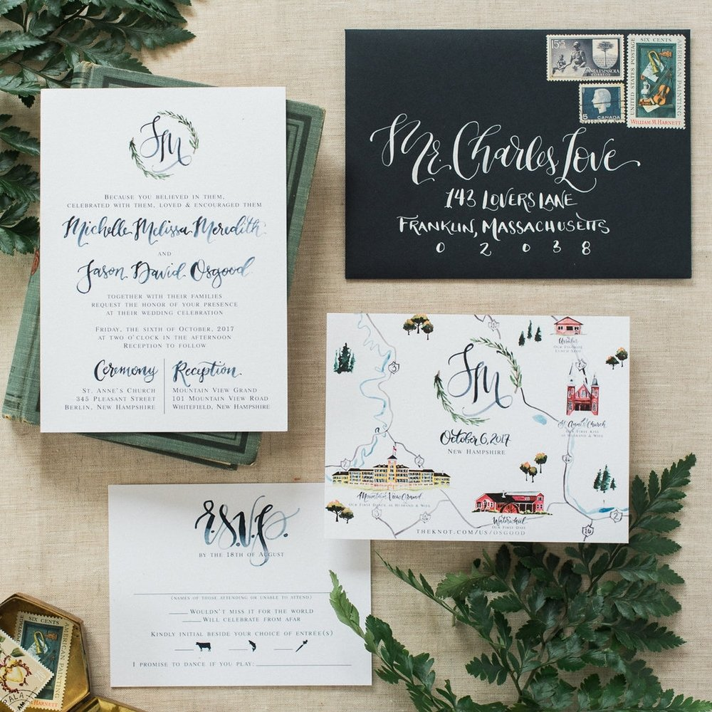 WATERCOLOR MAP & BOTANICAL PINE LOGO WEDDING INVITATIONS