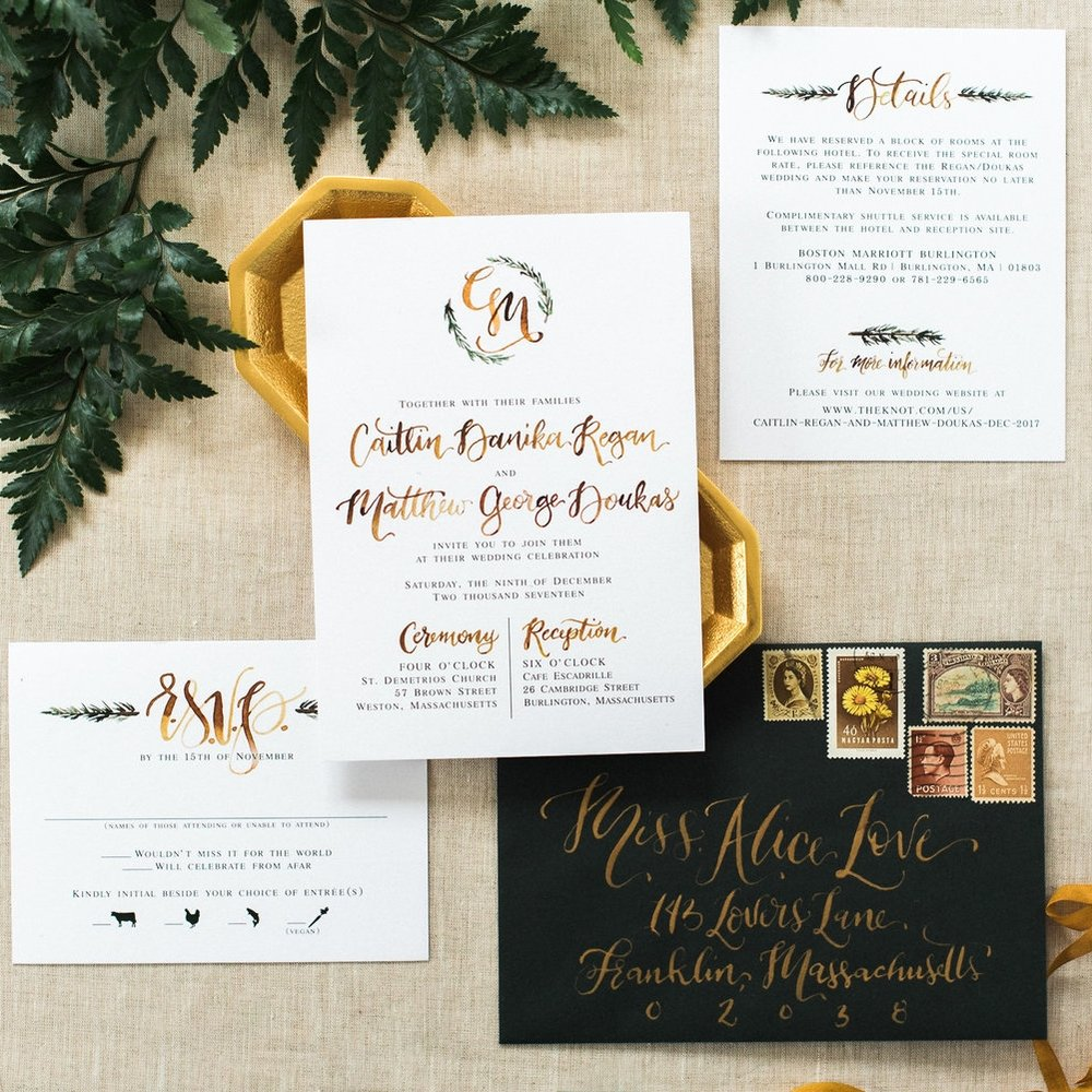 GREEN & GOLD WINTERY WOODSY WEDDING INVITATIONS