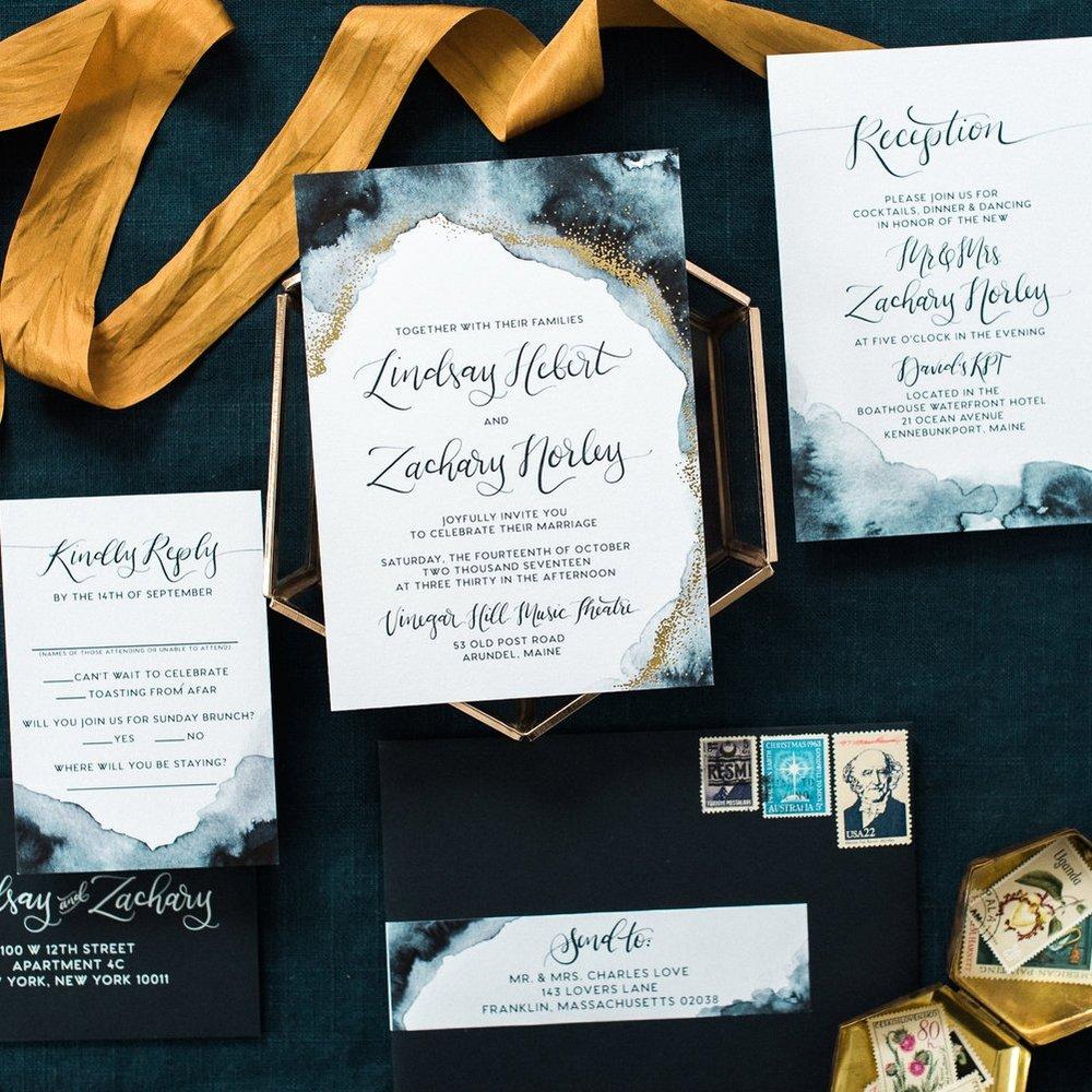GOLD FOIL DOT & WATERCOLOR WASH WEDDING INVITATIONS