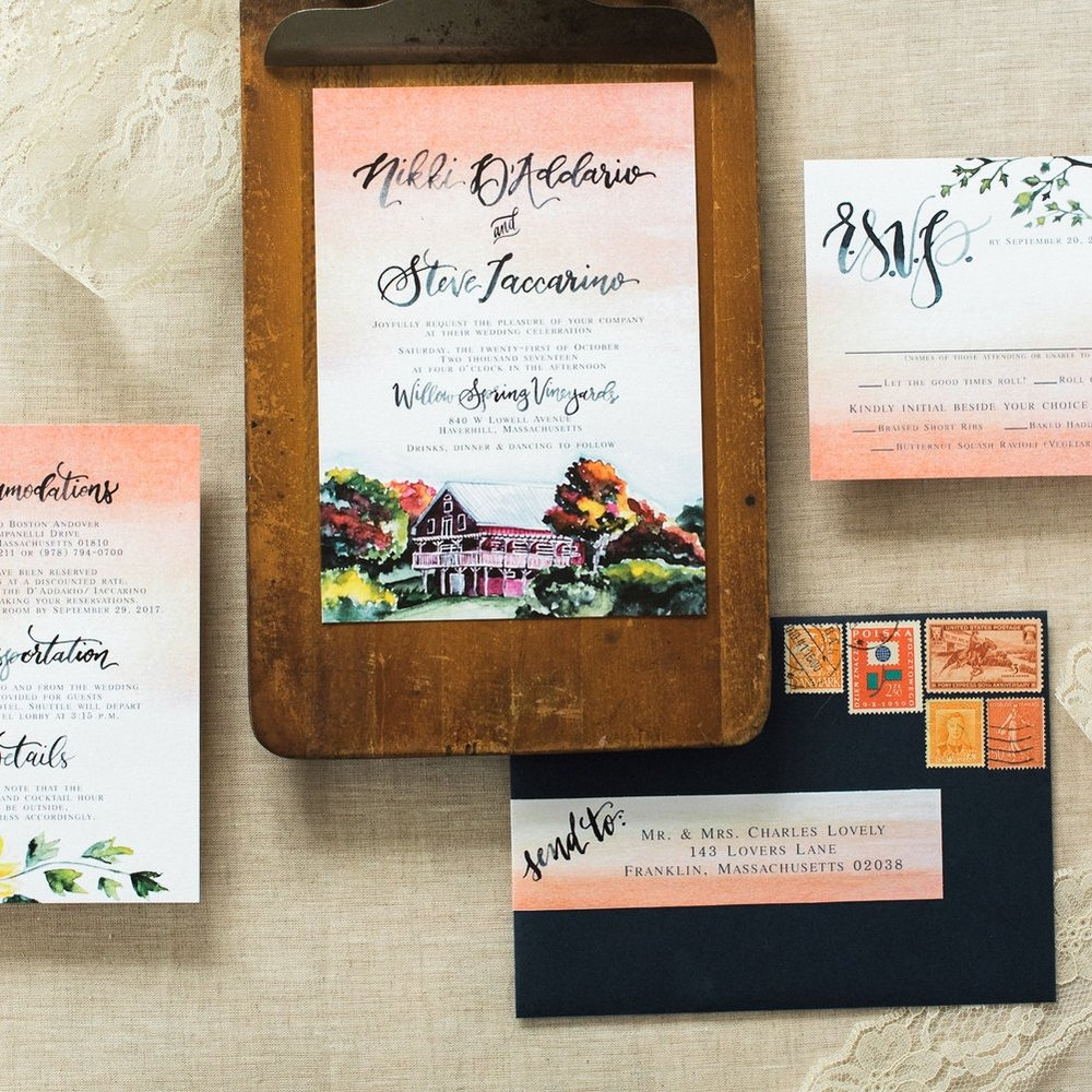 WATERCOLOR WILLOW SPRINGS VINEYARD FLORAL WEDDING INVITATIONS