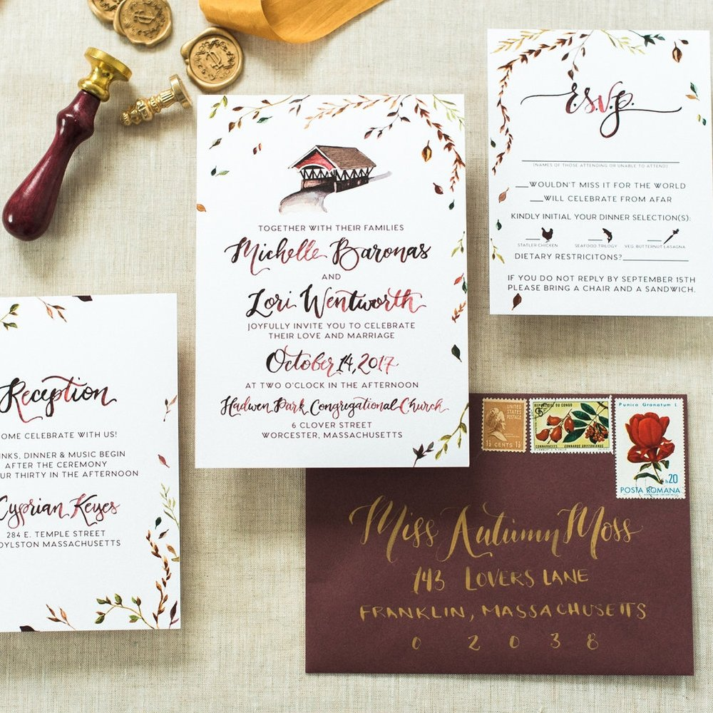 NEW ENGLAND COVERED BRIDGE FALL WEDDING INVITATIONS
