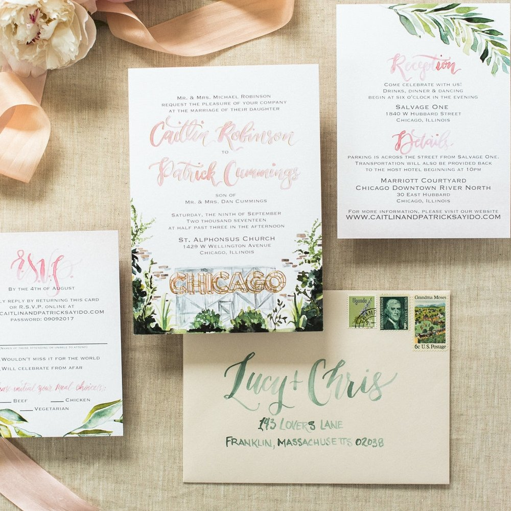 CHICAGO WATERCOLOR BOTANICAL WEDDING INVITATIONS