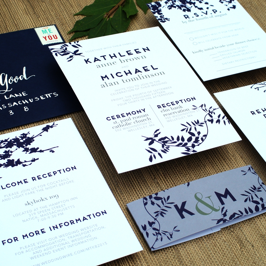 MODERN SILHOUETTE FLORAL WEDDING INVITATIONS