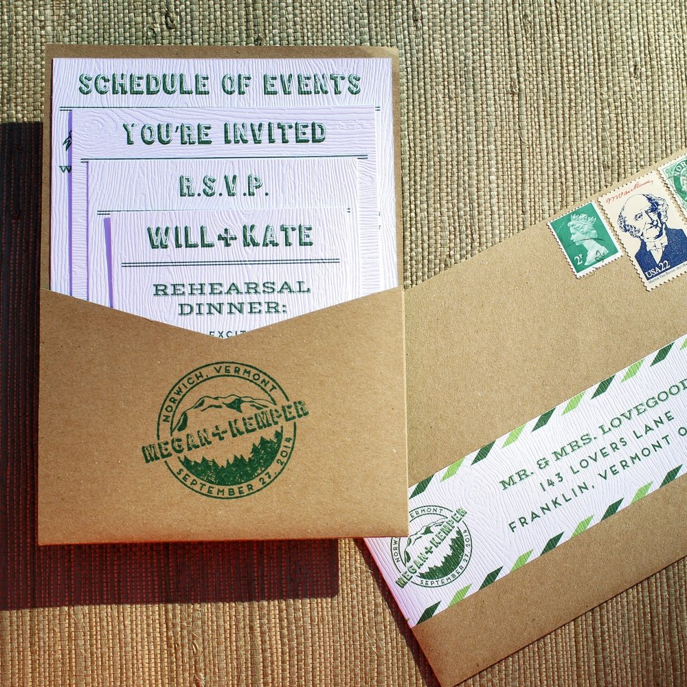 CAMPY CASUAL GREEN AND KRAFT WEDDING INVITATIONS