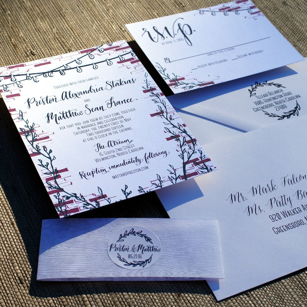 BRICK & STRING LIGHT WEDDING INVITATIONS