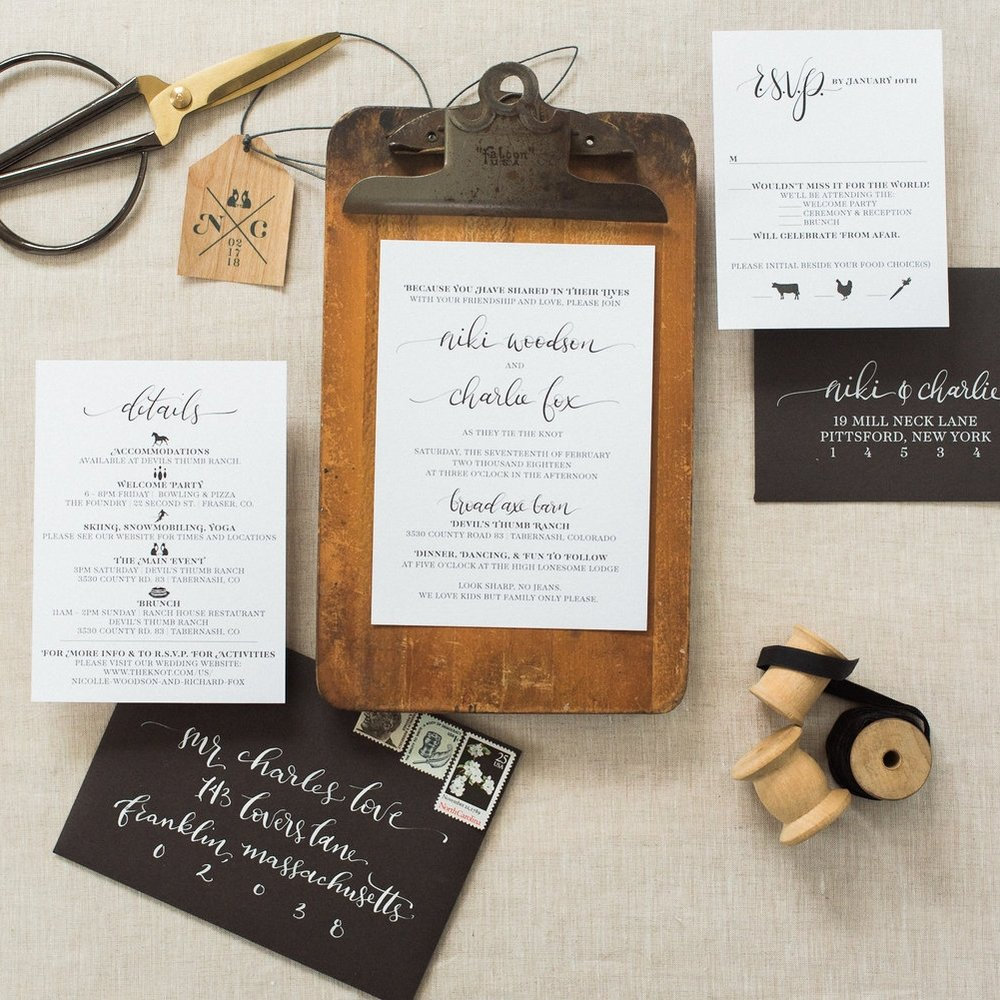 COLORADO WOODSY WEDDING INVITATIONS WITH WOOD TAG
