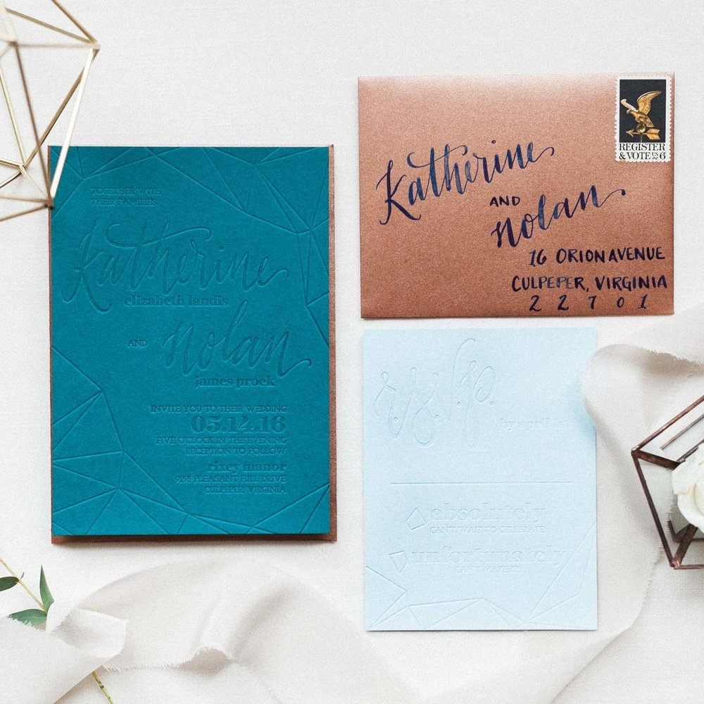 BLIND EMBOSS MODERN FACETED WEDDING INVITATIONS