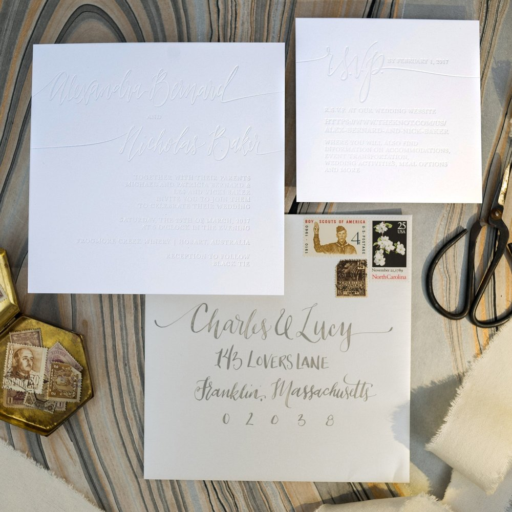 SHIMMER EMBOSS WHITE ON WHITE FOIL WEDDING INVITATIONS