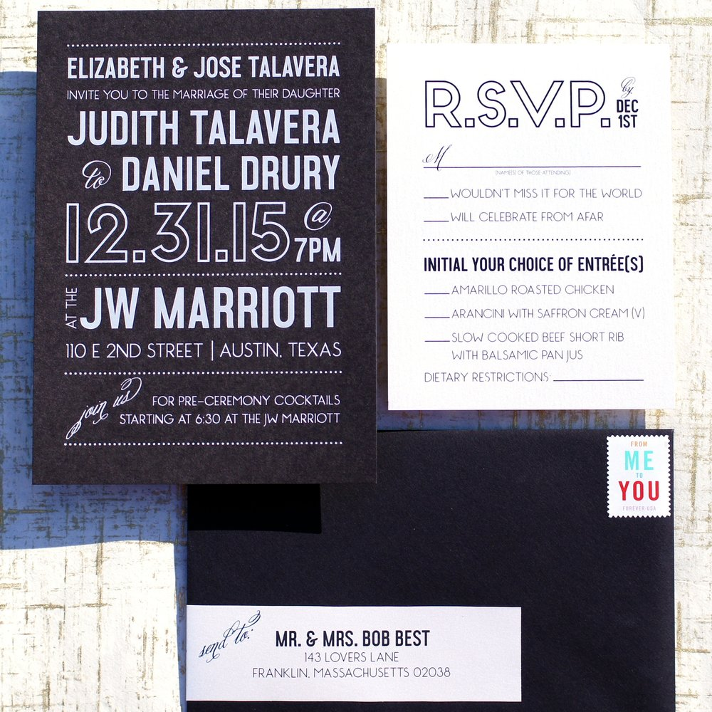 GRAPHIC BLACK & WHITE FOIL WEDDING INVITATIONS