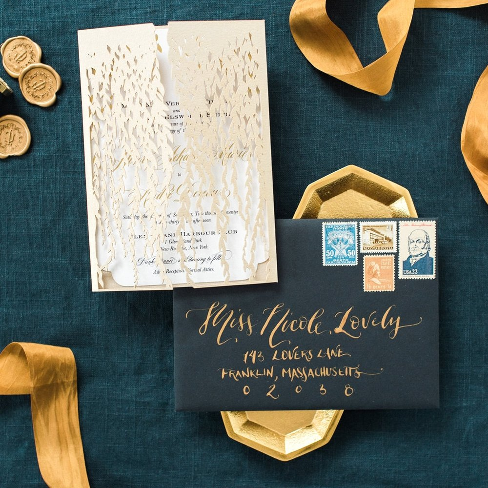 GOLD LEAF LASER CUT WEDDING INVITATIONS WITH FOIL DETAILS