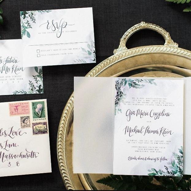 WATERCOLOR GREENS AND LAVENDER BOTANICAL VINE WEDDING INVITATIONS