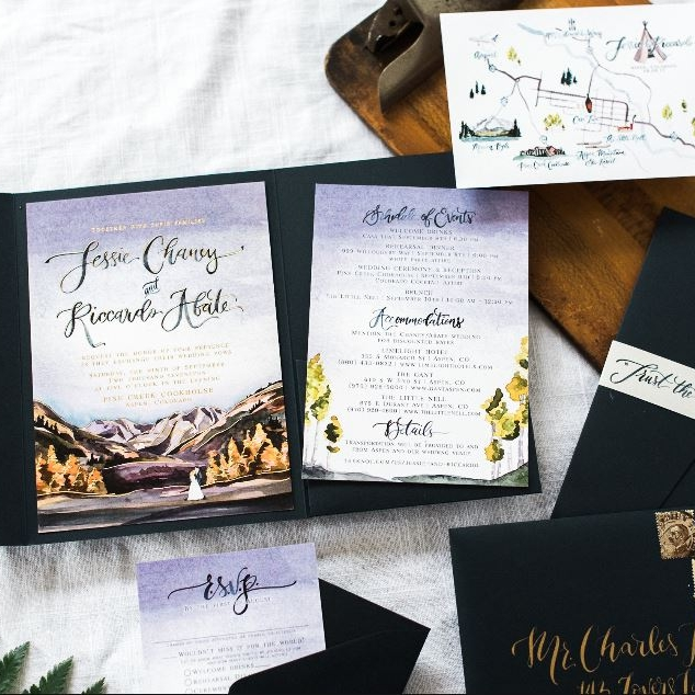 COLORADO MOUNTAINS WATERCOLOR & GOLD FOIL WEDDING INVITATIONS