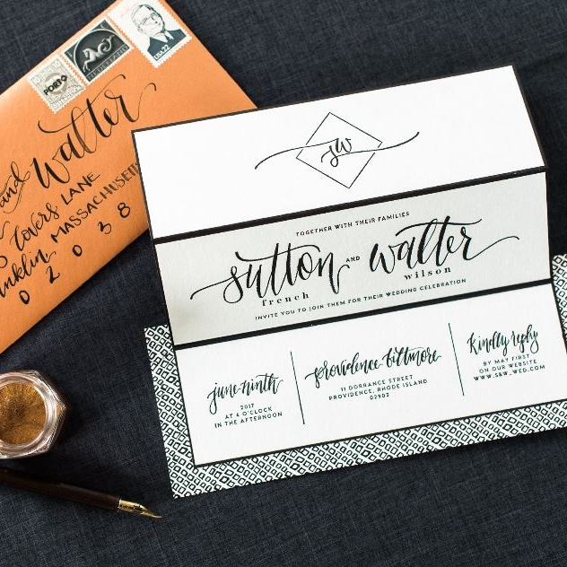MODERN BLACK & WHITE LETTERPRESS FOLDING WEDDING INVITATIONS