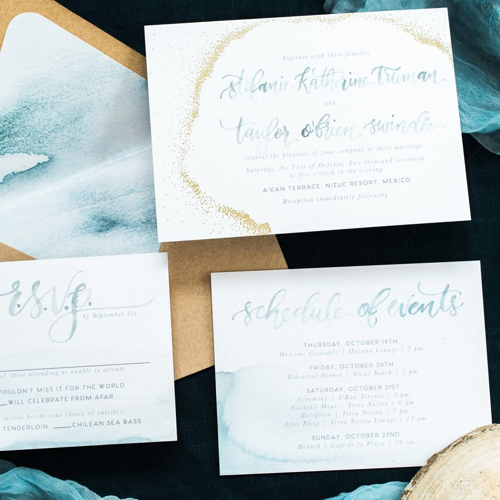 GOLD DOT & WATERCOLOR BEACHY COASTAL NAUTICAL WEDDING INVITATIONS