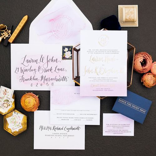 BLUSH & GOLD CALLIGRAPHY WEDDING INVITATIONS