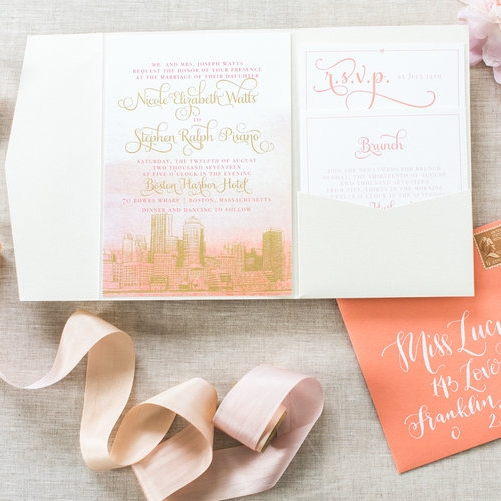 BOSTON HARBOR HOTEL WATERCOLOR WEDDING INVITATIONS