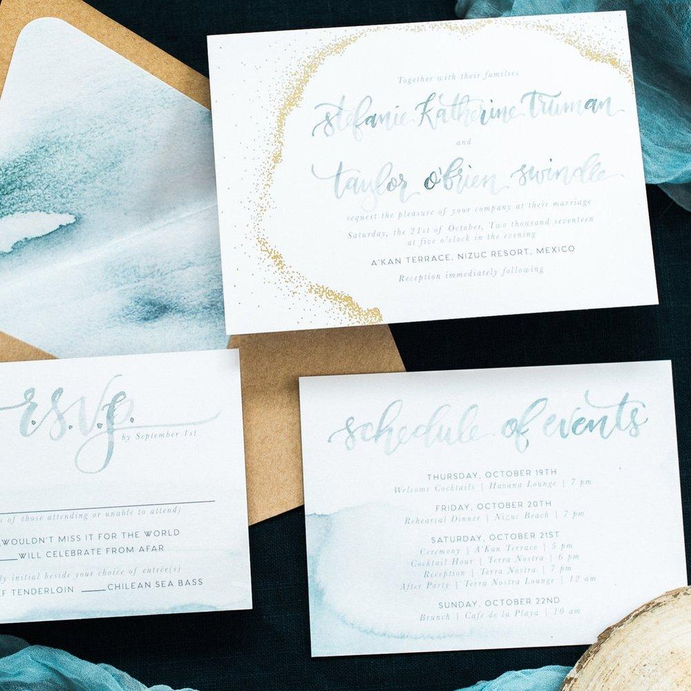 GOLD DOT & WATERCOLOR COASTAL BEACH WEDDING INVITATIONS