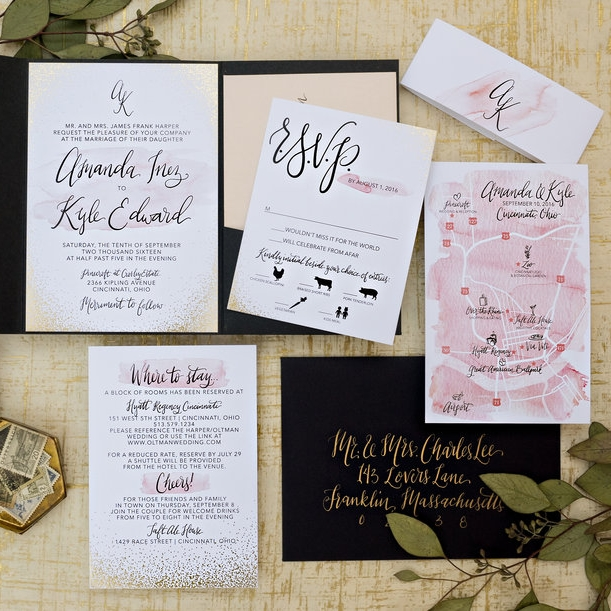 BLUSH & GOLD DOT WATERCOLOR MAP WEDDING INVITATIONS