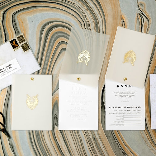 BEAR FOIL AND VELLUM ROTATING WEDDING INVITATIONS