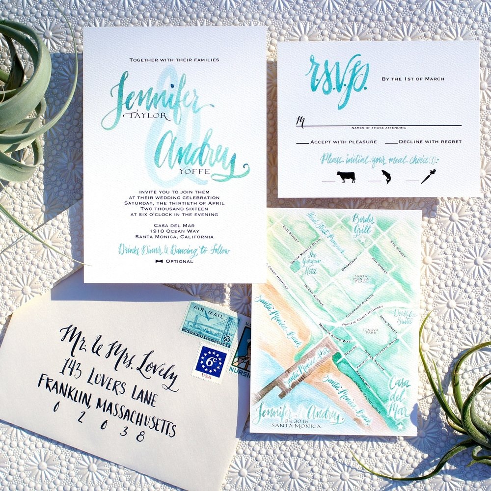 MODERN MEDITERRANEAN WATERCOLOR WEDDING INVITATIONS