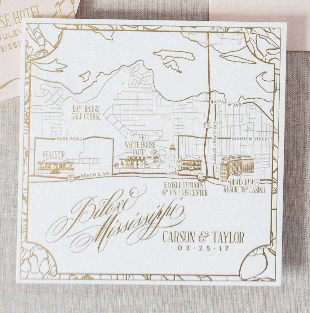 Biloxi Mississippi Gold Foil Wedding Map