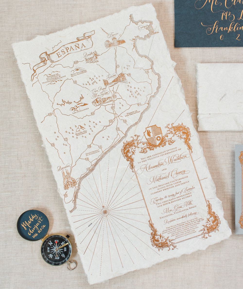Spain Gold Foil Wedding Map