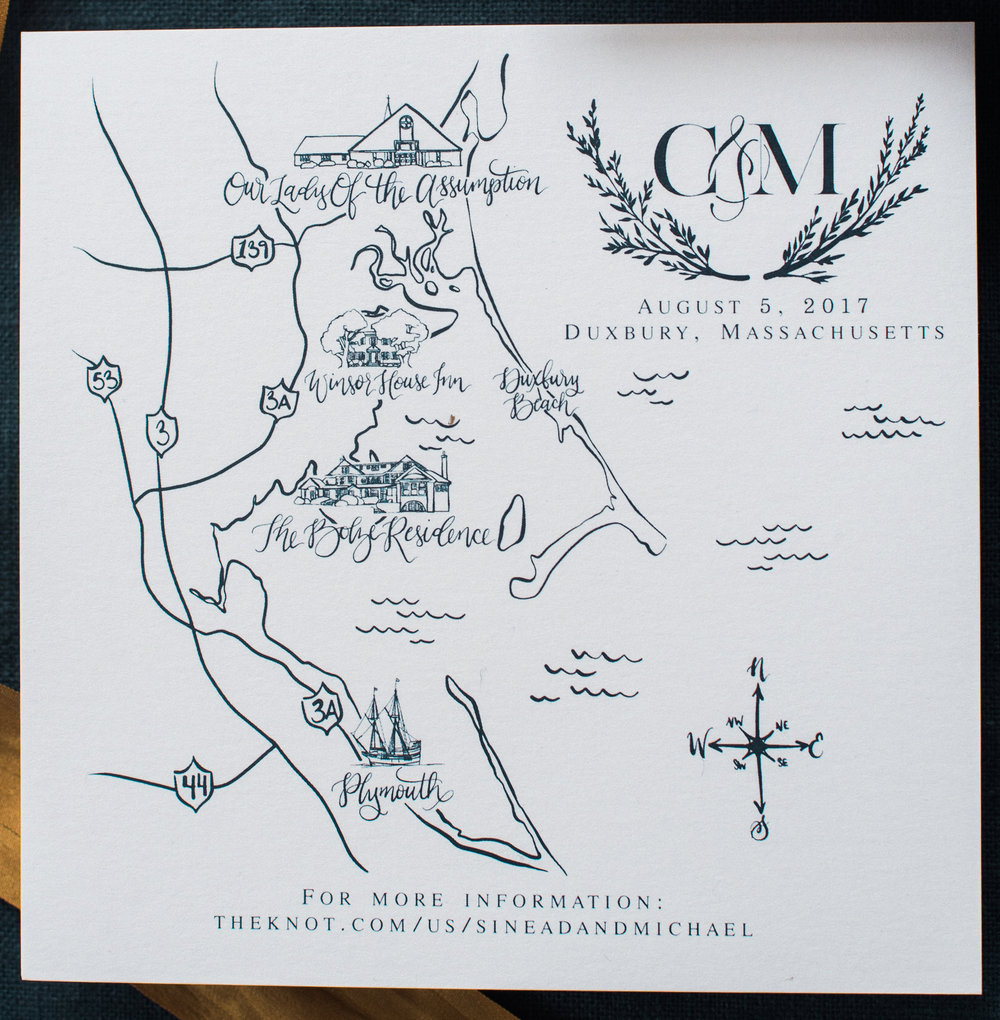 Duxbury MA Line Art Wedding Map