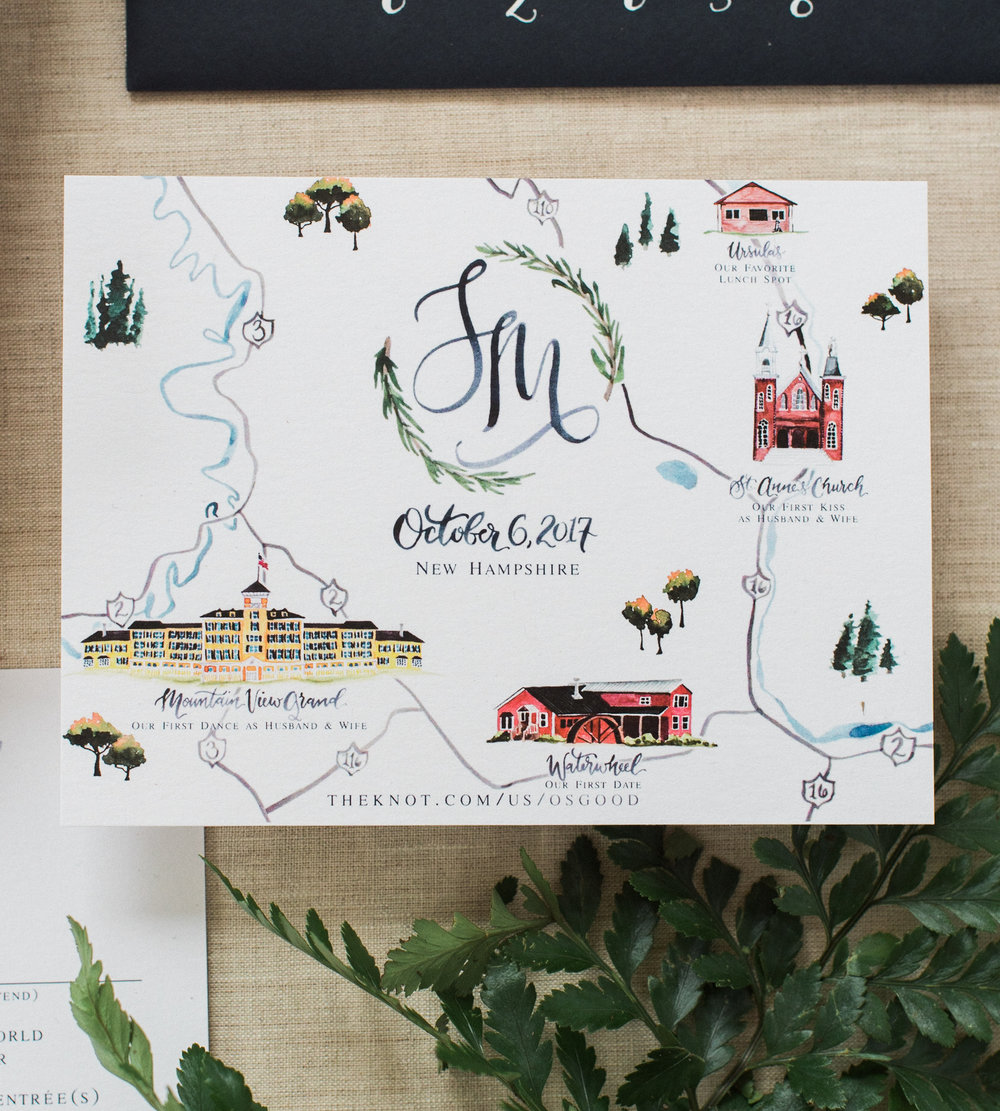 New Hampshire Watercolor Wedding Map