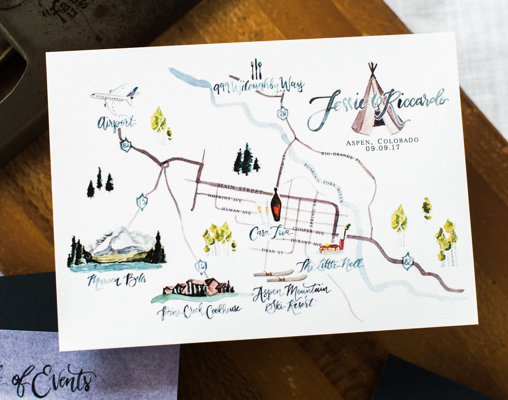 Aspen, CO Watercolor Wedding Map