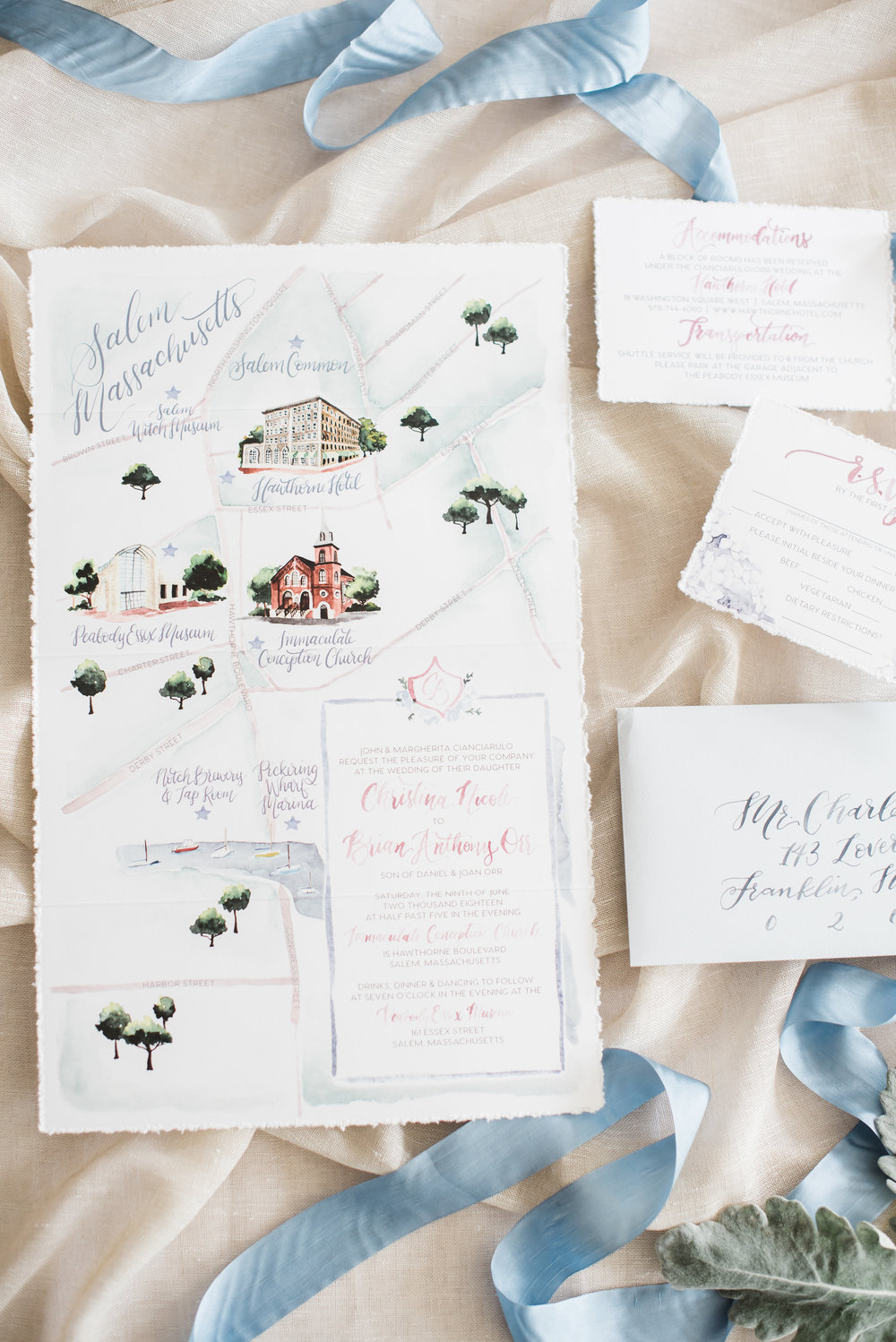 Salem Watercolor Wedding Map
